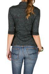 T-Shirt à manches trois quarts Gris original avec col croisé Loïs 299499