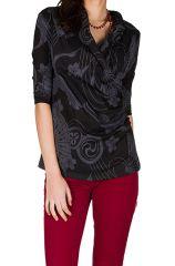 T-Shirt à manches trois quarts Noir imprimé avec col original Calum 299471