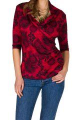 T-Shirt à manches trois quarts Rouge à col croisé et motifs tendances Maina 299505