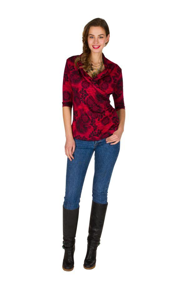 T-Shirt à manches trois quarts Rouge à col croisé et motifs tendances Maina 299506