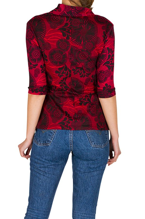 T-Shirt à manches trois quarts Rouge à col croisé et motifs tendances Maina 299507