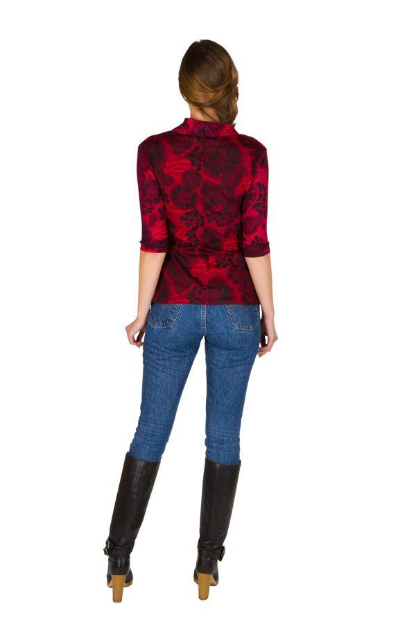 T-Shirt à manches trois quarts Rouge à col croisé et motifs tendances Maina 299508