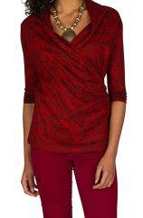 T-Shirt à manches trois quarts Rouge imprimé et col cache coeur Maddi 299487