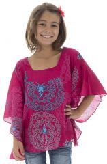 T-shirt ample enfant à manches chauve souris original Rose Ilma 294056