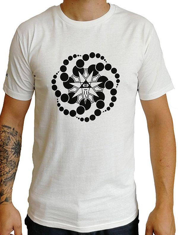 T-shirt blanc à manches courtes avec imprimé fun Marcus 297274