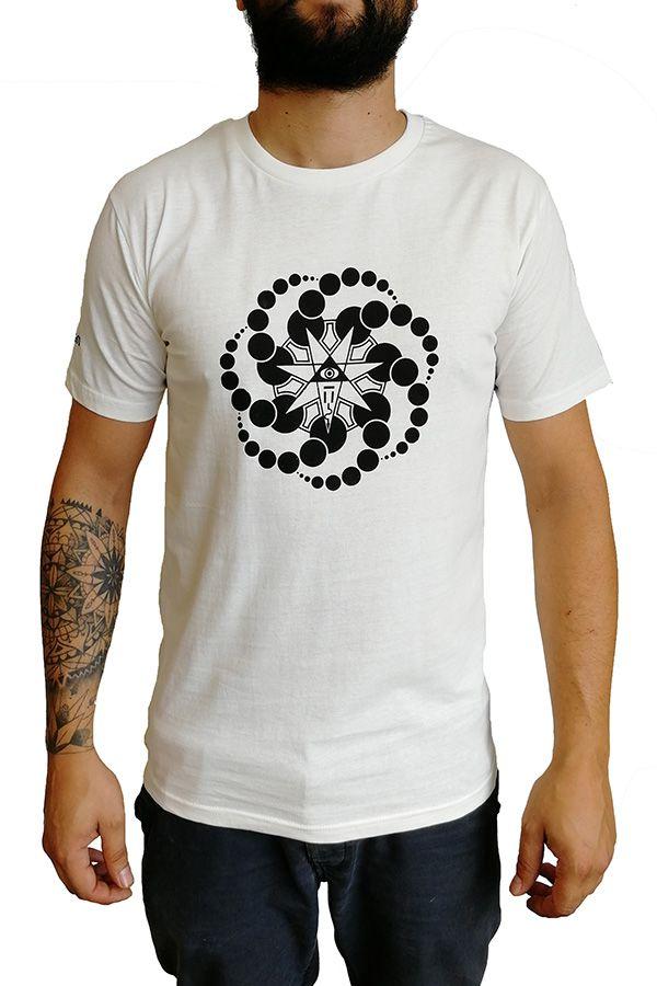 T-shirt blanc à manches courtes avec imprimé fun Marcus 297275