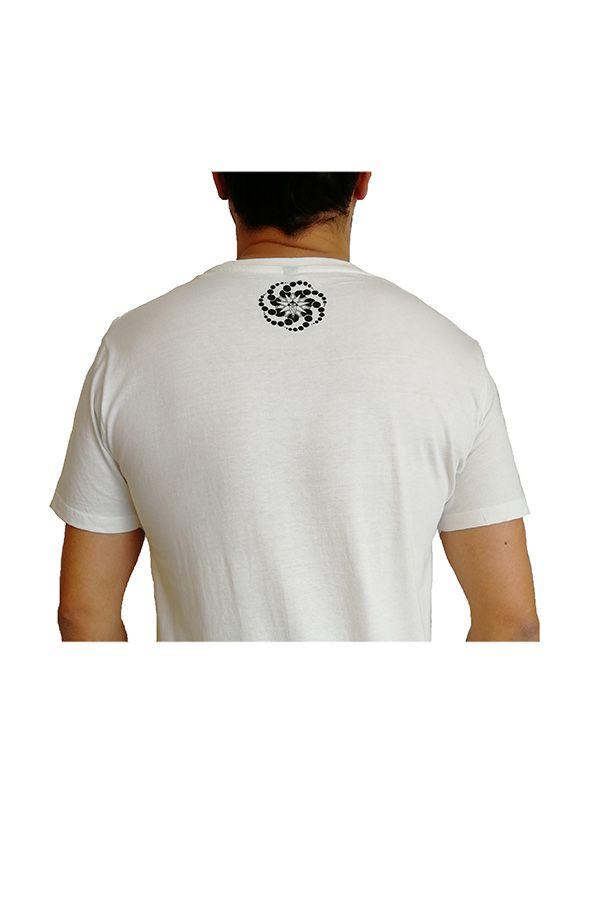 T-shirt blanc à manches courtes avec imprimé fun Marcus 297277