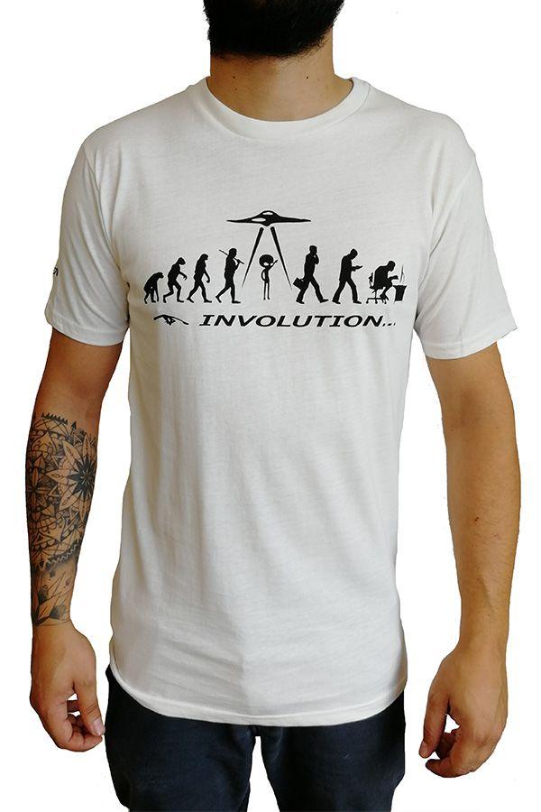 T-shirt blanc à manches courtes avec imprimé Involution Eric 297253