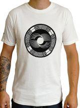 T-shirt blanc col rond et manches courtes avec imprimé original Romain 297294