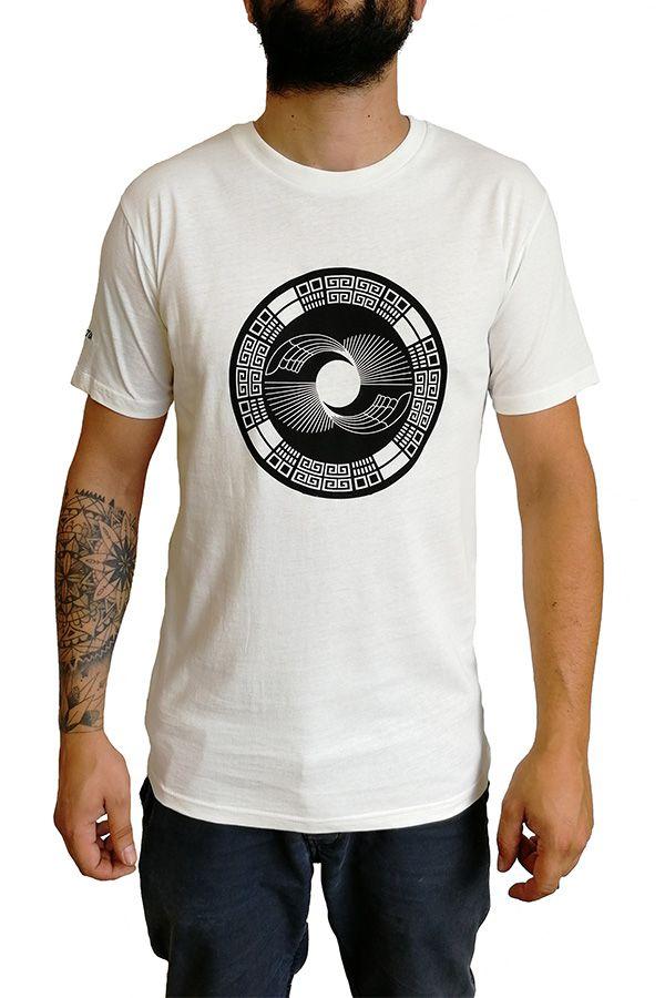 T-shirt blanc col rond et manches courtes avec imprimé original Romain 297295