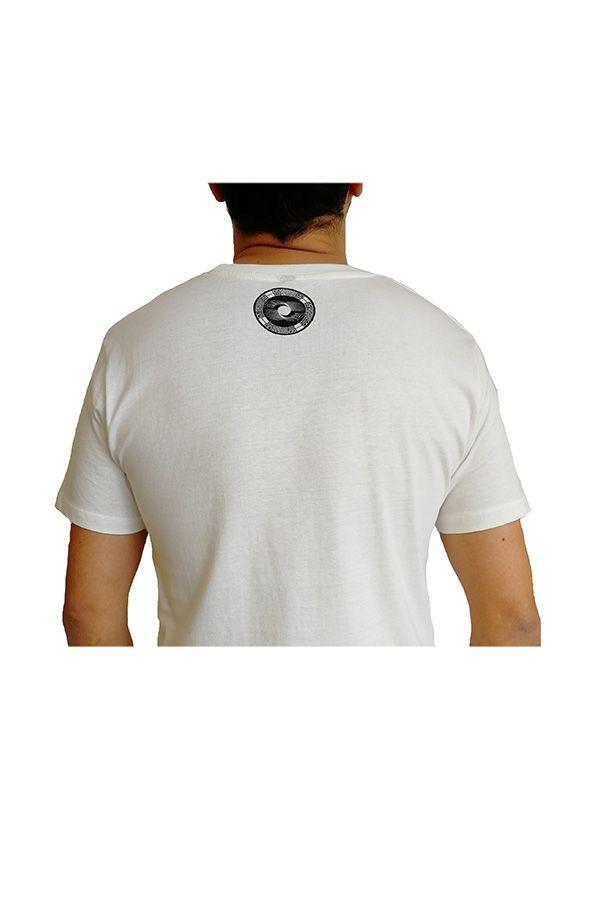 T-shirt blanc col rond et manches courtes avec imprimé original Romain 297296