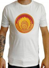 T-shirt blanc en coton pour homme coupe droite et logo original coloré James 297270