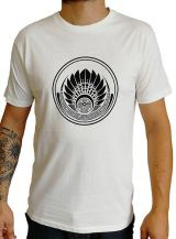 T-shirt Blanc en coton pour homme coupe droite et logo original coloré James 297548