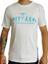 T-shirt blanc homme en coton avec logo Evolution bleu Matt 297267