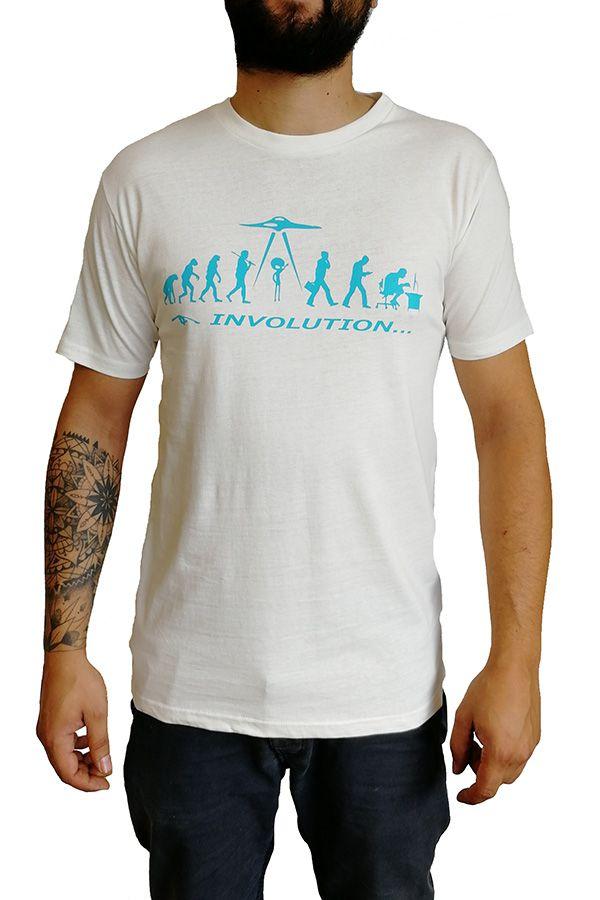 T-shirt blanc homme en coton avec logo Evolution bleu Matt 297268