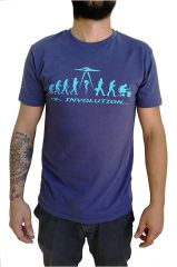 T-shirt Bleu à manches courtes avec imprimé Involution Eric 297432