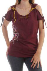 T-shirt bordeaux épaules dénudées original Floraya 298156