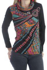 T-shirt chic et tendance à manches longues et aux motifs colorés Noir Louny 303285