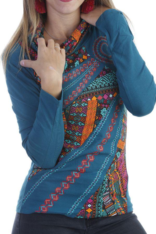 T-shirt chic et tendance à manches longues et aux motifs colorés Noir Louny 303291