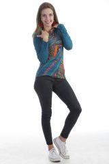 T-shirt chic et tendance à manches longues et aux motifs colorés Noir Louny 303292