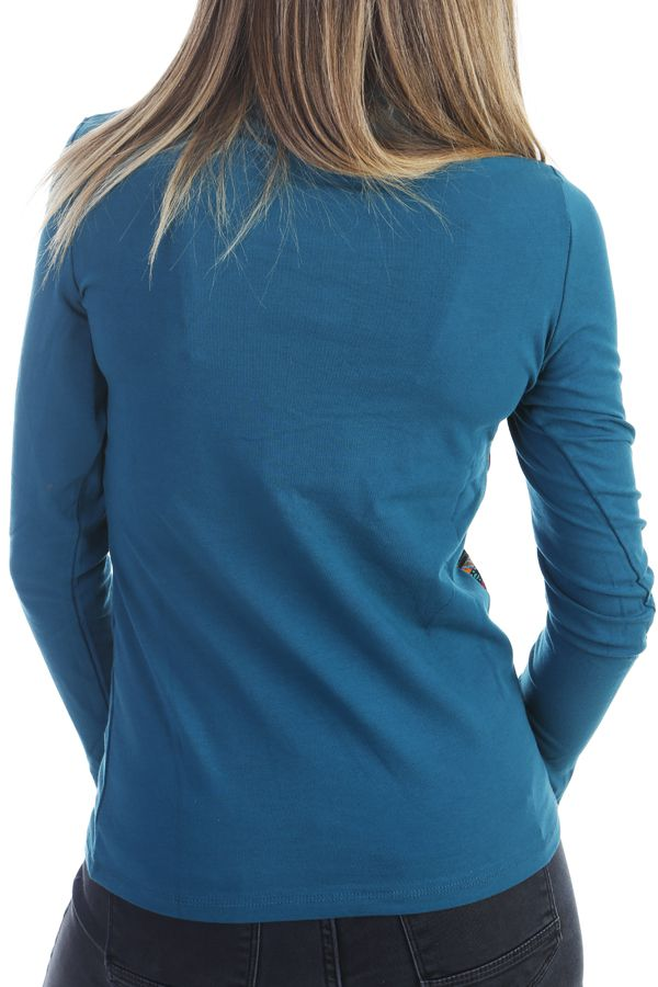 T-shirt chic et tendance à manches longues et aux motifs colorés Noir Louny 303293