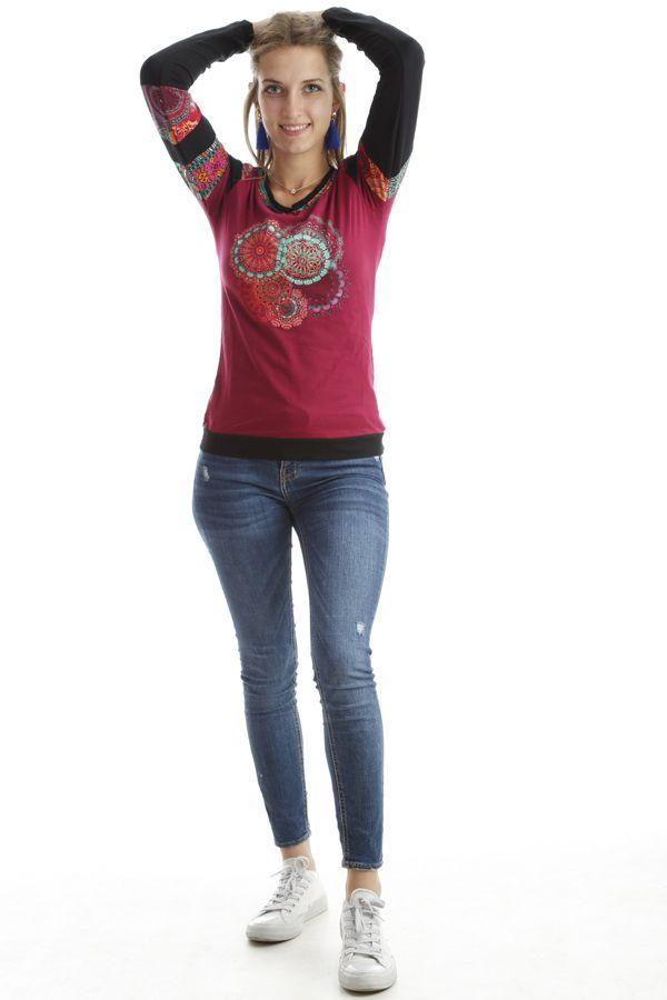 T-shirt coloré à manches longues et imprimés Framboise Erita 302533