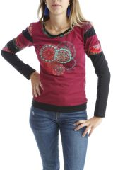 T-shirt coloré à manches longues et imprimés Framboise Erita 302534