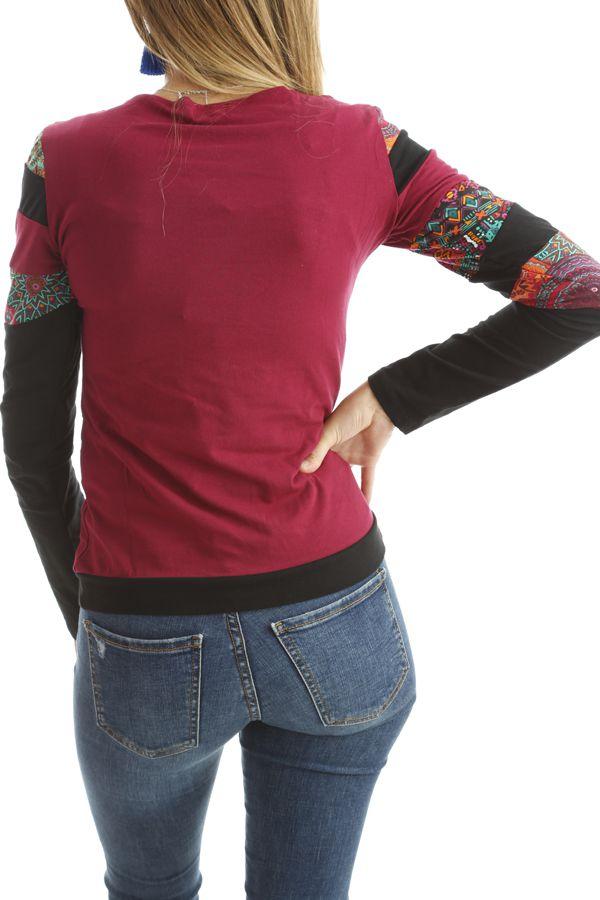 T-shirt coloré à manches longues et imprimés Framboise Erita 302535