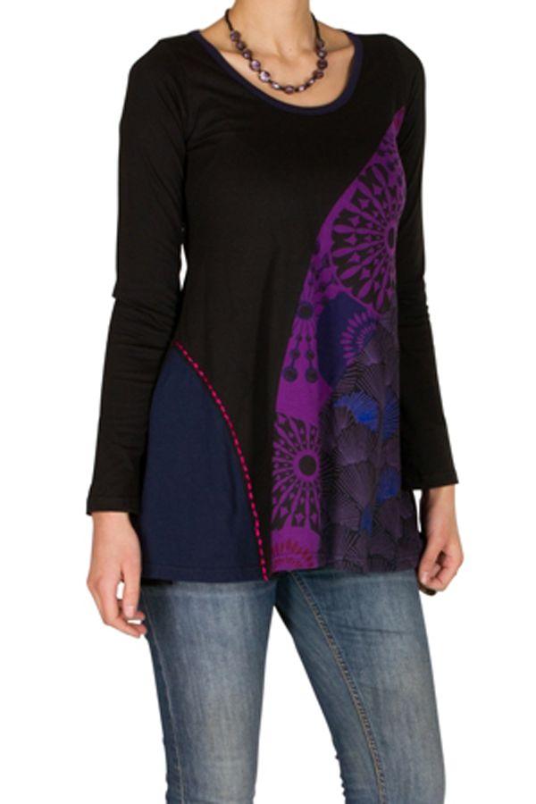 T-Shirt coloré à manches longues Violet féminin à Shah 301487