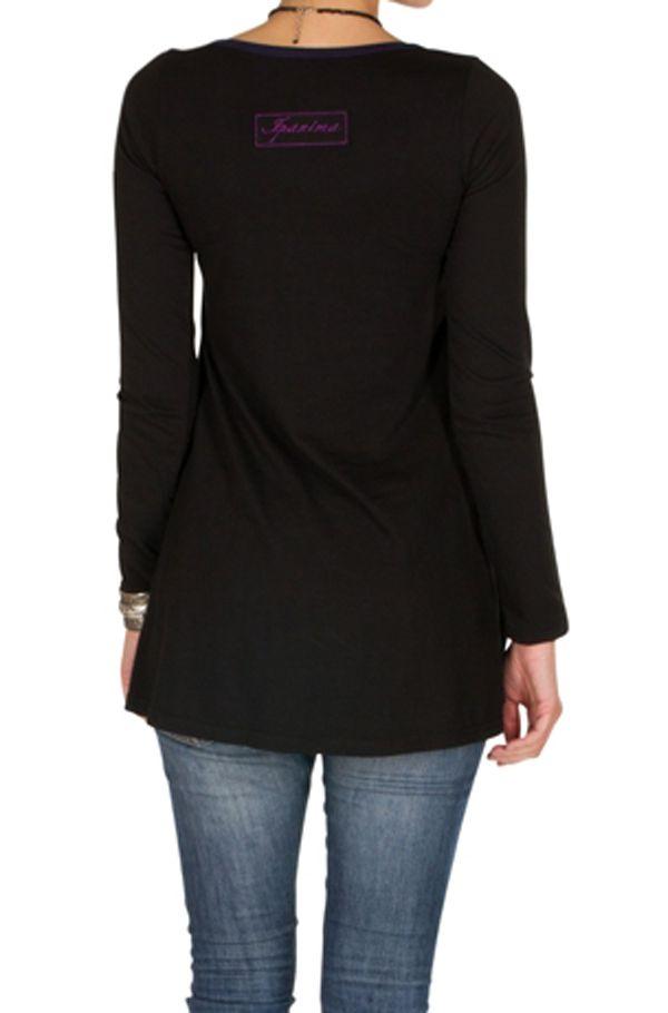 T-Shirt coloré à manches longues Violet féminin à Shah 301489