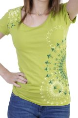 T-shirt coloré et original à manches courtes anis Alizée 293969