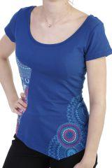 T-shirt coupe asymétrique en coton avce imprimés ethnique bleu Sophia 293906