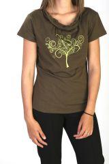 T-shirt d'été à manches courtes Imprimé et Originale Kaki Awa 291634