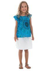 T-shirt d'été enfant ample original et imprimé bleu Sanchaya 291686