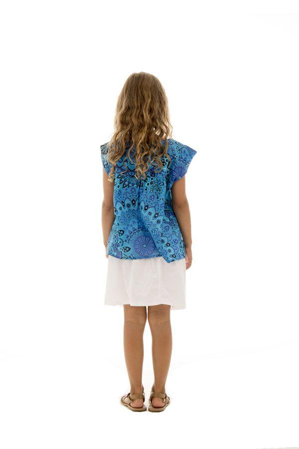 T-shirt d'été enfant ample original et imprimé bleu Sanchaya 291687