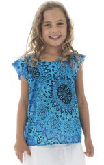 T-shirt d'été enfant ample original et imprimé bleu Sanchaya 294019
