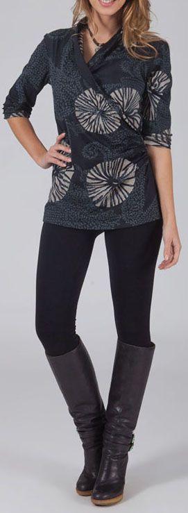 T-Shirt effet Cache-coeur Original et Coloré Haron gris 274761