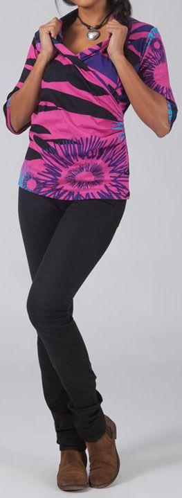 T-Shirt effet Cache-coeur Original et Coloré Haron Rose 274762
