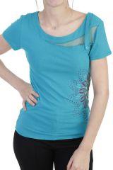 T-shirt élégant à manches courtes et imprimé émeraude Bekette 293748