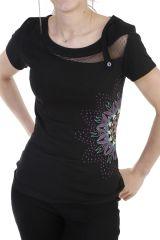 T-shirt élégant à manches courtes et imprimé noire Bekette 293751