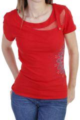 T-shirt élégant et original à manches courtes et imprimé rouge Bekette 293820