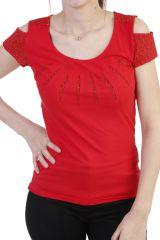 T-shirt en coton à manches ouvertes à motifs rouge Narval 293897