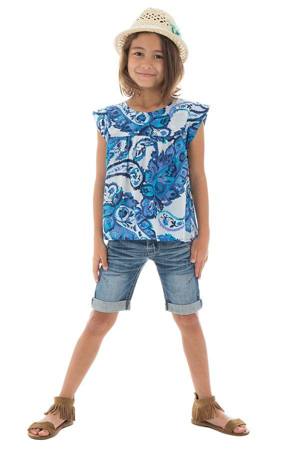 T-shirt enfant à manches courtes imprimé et original bleu Maithi 291690
