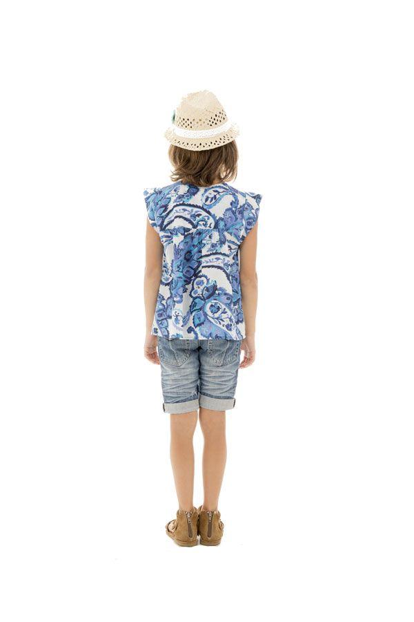 T-shirt enfant à manches courtes imprimé et original bleu Maithi 291691