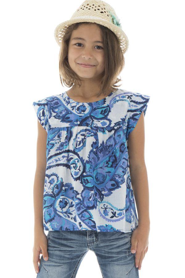 T-shirt enfant à manches courtes imprimé et original bleu Maithi 294026