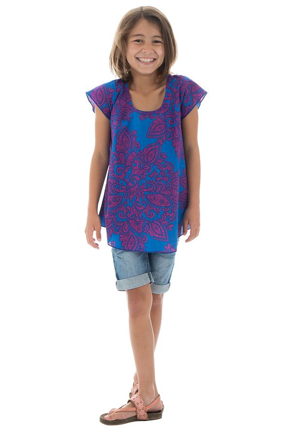 T-shirt enfant manches courtes à imprimés originaux Bleu Eshana 291657