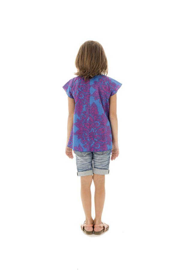 T-shirt enfant manches courtes à imprimés originaux Bleu Eshana 291658