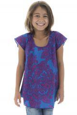 T-shirt enfant manches courtes à imprimés originaux Bleu Eshana 294057