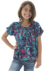 T-shirt enfant manches courtes évasé original couleur Bleu Nasam 294022
