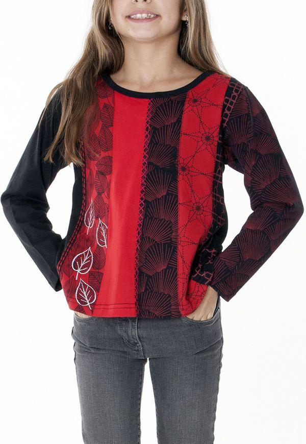 T-shirt enfant noir et rouge pour un look ethnique 287573